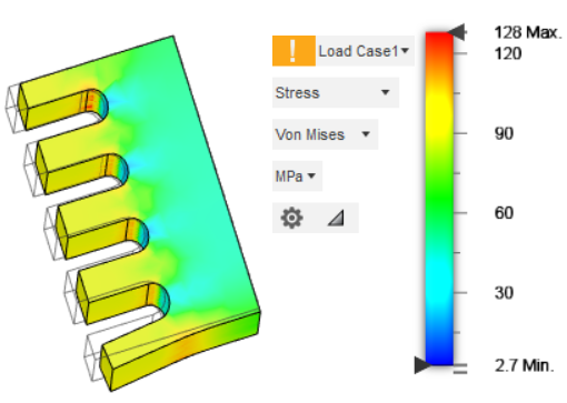 Numerical model of load on a part