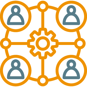 People surrounding a gear icon